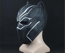 capitán de américa de la media Rebajas Máscaras de pantera negra Capitán América Civil Guerra Roles Cosplay Máscara de látex Casco Halloween Realista Adulto Fiesta Apoyos En stock