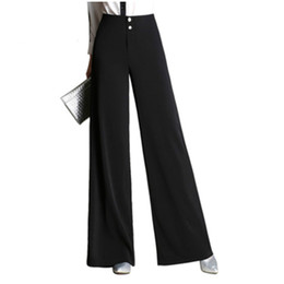 wide formal pants Coupons - 2019 Autumn Winter High Waist Style Women Wide Leg Pants Loose Casual Black OL Suit Trousers Button Fly Female Street