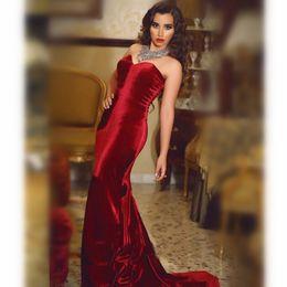 2019 madre novia vestidos largo champagne negro 2020 cariño tribunal tren vestidos de noche de terciopelo Borgoña roja larga de las mujeres atractivas del vestido formal Vestido de Festa
