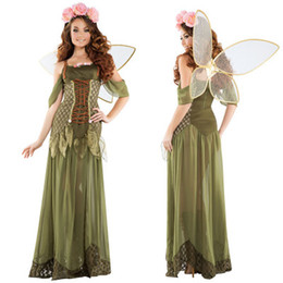 Canada Costume d'Halloween Femmes Forêt Vert Elfe Fleur Fée Princesse Costume D'ange Halloween Party Cosplay Robe cheap elf halloween costumes women Offre