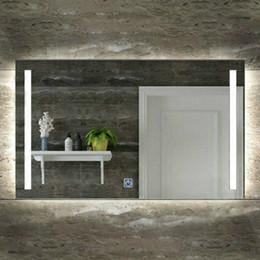 2019 folhas de plástico redondas Montagem na parede retangular LED Vertical Iluminado Vaidade Do Banheiro Espelho Anti Fog Dimmer Touch Quarto Mobiliário Doméstico Maquiagem Espelho de Luz Cosmético
