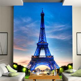 Papier peint tour eiffel en Ligne-Personnalisé en 3D Tour Eiffel en bleu ciel photo murale papier peint non-tissé série chambre étude mur toile de fond projet d'amélioration de l'habitat peinture