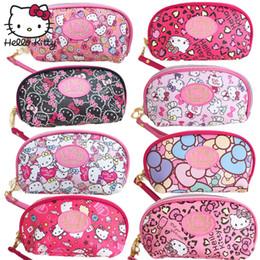 Hello Kitty Cute Cartoon Borsa per il trucco Borsa regalo Ciondolo Donna in pelle Ragazze frizione borsa bambini carta titolare peluche zaino da
