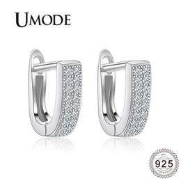 Umode ohrringe online-UMODE Mode 925 Sterling Silber CZ Kristall Creolen für Frauen Klar Zirkon Weißgold Ohrringe Creolen Schmuck Geschenk ALE0333