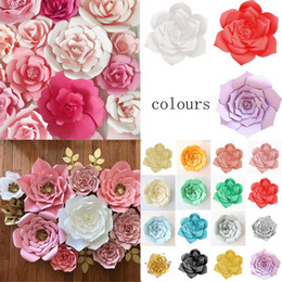 wedding backdrops black white Coupons - DIY Paper Flower Backdrop Wall 30 cm Giant Rose Flowers Wedding Party Decor