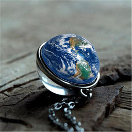 2019 photo de la terre 2019 New Galaxy Terre Double-face Pendentif Boule De Verre Collier Univers Espace Espace Art Photo À La Main DIY Collier Ras Du Cou photo de la terre pas cher