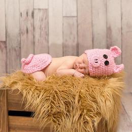 Costumi carino di maiale online-Neonato fotografia puntello carino maiale costume bambino puntelli foto vestito a maglia neonato foto accessori infantile ragazza ragazzo riprese