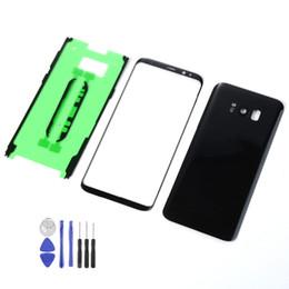 batería de la caja xperia Rebajas Para Samsung Galaxy S8 G950 G950F Carcasa Tapa trasera Batería Cubierta posterior + Sensor de pantalla táctil frontal + Adhesivo + Herramientas