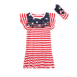 Vestidos curto borla on-line-Baby Girl Tassel Dress Kids Short Sleeve Striped Stars Dress American Flag Independence National Day USA 4th July Flare Sleeve Headbands