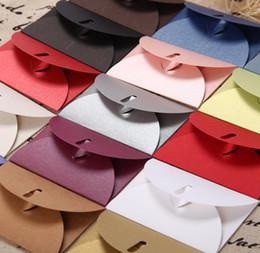 bolsas de papel de aluminio al por mayor Rebajas 200pcs / lot 10.5 * 7.2cm sobre de papel, sobres coloridas del corchete del corazón, de la invitación del sobre de regalo Sobres de bricolaje