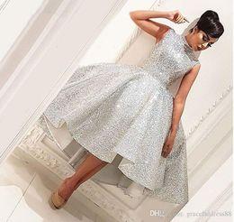 2019 imagens para satin african dresses Bling Muçulmano Vestidos de Noite 2019 Vestido de Baile Chá Comprimento Seuqins Islâmico Dubai Saudita Árabe Longo Formal Vestido de Noite Vestido de Baile