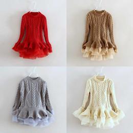 Sweater inverno coreia on-line-Ins Coréia Requintado Primavera Inverno Camisola Tutu Vestido de Manga Longa Gola Redonda Organizar Tutu Vestido Vestido da menina de Dança