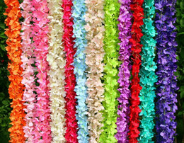 Cenário de parede de aniversário on-line-200 cm de comprimento artificiais wisteria flor videira de seda hortênsia rattan diy festa de aniversário de casamento decoração de parede backdrop flores