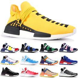 Las mejores zapatillas naranjas online-Adidas yeezy Las mejores zapatillas para correr NMD Human Race para hombre Pharrell Williams Pw Hu Holi Pale Nude Solar Pack Orange BBC Green Plaid Women Designer Shoes