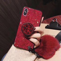 2019 fuchs iphone telefon fall YunRT Luxusmode glänzende Epoxy-Verlängerungshalterung weicher Fuchspelz Ball + Lanyard-Abdeckungsfall für iphone 6 7 8 plus X XR XS MAX-Telefonkästen günstig fuchs iphone telefon fall