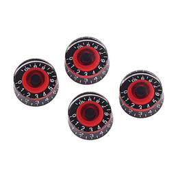 dicas de guitarra Desconto 4 GD17A amplificadores botão de controlo do pedal efeito acrílico para baixo guitarra eléctrica (preto e vermelho)