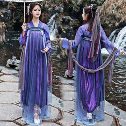 Argentina Mujeres Hanfu púrpura traje de baile nacional vestido de hada vestido del festival oriental folk escenario rendimiento ropa 2 piezas DF1019 cheap dance outfits for women Suministro