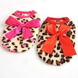 Trajes de impressão de leopardo on-line-Outono E Inverno Coletes Para Animais de Estimação Engrosse Leopardo Padrão de Impressão Roupas Para Cachorro Com Big Bowknot Cachorro Trajes de Alta Qualidade 6bx BB