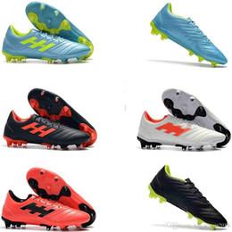 Tacos de fútbol de cuero genuino online-Calidad Llegada Nuevos Hombres de alta Copa 19.4 FG Zapatos de fútbol Al aire libre Cuero Genuino Hombres Botas de fútbol Zapatos de fútbol