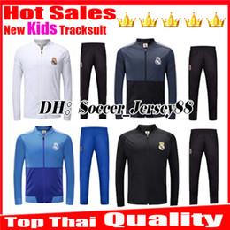 2019 kit de venta al por mayor Kids 2018 2019 Kits de chándal chaqueta de traje de entrenamiento real madrid FÚTBOL JERSEY niños BALE KROOS RAMOS MODELO ISCO Survetement kits de fútbol