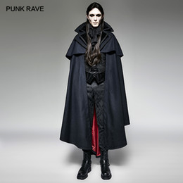 Синий пиджак косплей онлайн-PUNK RAVE Men's Gothic Vampire Count Woven Blue Cape Coat Vampire Fashion Jacket Party Christmas Hallowmas Cosplay Men Clothing