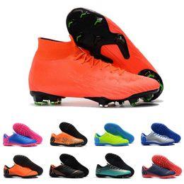 Botas de color verde lima online-Botas de fútbol para hombre Mercurial Superfly naranja verde lima Diseñador CR7 Ronaldo Neymar chuteiras de futebol Tacos de fútbol Zapatillas de deporte de fútbol sala