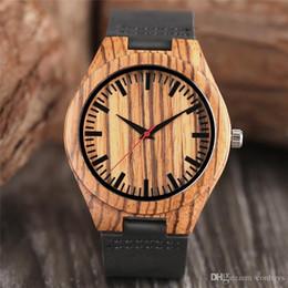 Лучшие черные наручные часы онлайн-Мужские Коричневые Зебра Pattern Деревянные Часы Природа Ручной Бамбук Деревянные Кварцевые Наручные Часы Черный Натуральная Кожа Ремешок для Мужчин Повседневная Лучший Gif