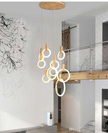 Iluminação contemporânea da escada on-line-O candelabro conduzido contemporâneo ilumina nordic conduziu droplighs O acrílico ilumina a iluminação da escada 3/5/6/7/10 soa o dispositivo elétrico de iluminação interno