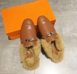 baa8b10b7c8 New 2019 Italian Princetown Real Fur Slippers Winter Brand Designer Fashion  Loafers Women Mules Shoes Embroidery Rabbit Fur Slippers H88