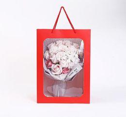 2019 papel de regalo rojo de navidad bolso de papel negro de la flor blanca ventana clara del PVC, bolsa de papel de regalo ventana palstic, Flor de embalaje Bolsa de exposiciones bolsas 100pcs / lot SN899