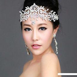 2019 chapéus verdes do fedora Novo Luxo Folha noiva frontlet Cristal Headpieces Headband Acessórios para Cabelo nupcial Princesa Vintage Mulheres Cabelo casamento jóias da coroa Tiara