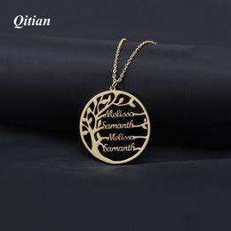 Geschenke für familien online-Aussage Stammbaum Charm Halskette Für Frauen Name Anhänger Gold Farbe Edelstahl Personalisierte Schmuck Männer Weihnachtsgeschenk