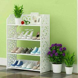 Acabado de zapatos online-estantes de almacenamiento estante estante del zapato de 4 capas caja de acabado del gabinete armario blanco a estrenar