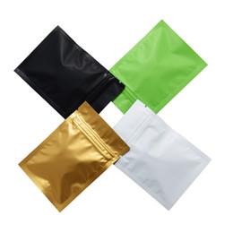 Lámina de calor dorado online-Mate Superficie Verde / Negro / Blanco / Dorado Bolsas con cierre de cremallera Bolsas de papel sellado con calor de aluminio de color Mylar Bolsa de alimentos Bolsa de alimentos