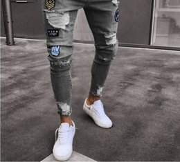 Mens Jeans Distressed Ripped Skinny Jeans Hip hop slim Zipper Fly cheaper  ripped hole denim pencil pants fold Clothing Wholesale 9bd675c06