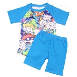 Raglan manica seta online-2019 Primavera Estate Baby Boy Set di abbigliamento Boy Blue Raglan Shirt Lovely Kids stampato manica corta Boutique Tshirt latte di seta