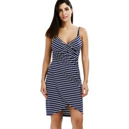 Robe d'été à rayures pour femmes V - Col en Spaghetti et sangle Femmes au genou - Couvertures de longueur Robe de plage ? partir de fabricateur