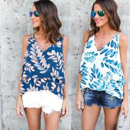 Свободные женские подтяжки онлайн-Шифоновая рубашка Самммер женщин новая мода с женской печатью листьев подвеска белый синий высокое качество свободные случайные оптом бесплатная доставка