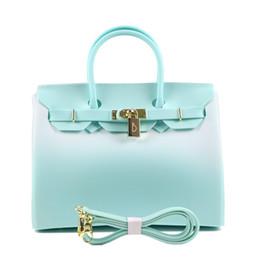 Discount plastic beach tote bags - good qualtiy Matte Green White Zipper  30cm Large Size Handbag 25e5fe698372