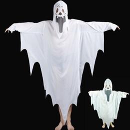 mulheres vestido colonial Desconto 2017 New Hot Halloween Cosplay Partido Fantasma Unisex Terno Humano Padrão Branco Traje de Halloween Scare Desempenho Roupas Terno Desgaste Adultos