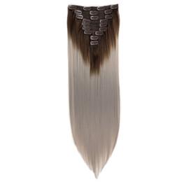 Наращивание волос на основе смешанных волокон онлайн-Новый цвет смешивания химического волокна длиной прямой зажим для волос Женский Высокая температура Шелковый удлинителем волос