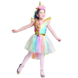 2019 traje de capa roxa Meninas Unicórnio Vestido Traje Rainbow Tutu Princesa Cosplay Vestido de Festa de Aniversário Crianças Crianças Halloween Carnaval Roupas Unicórnio