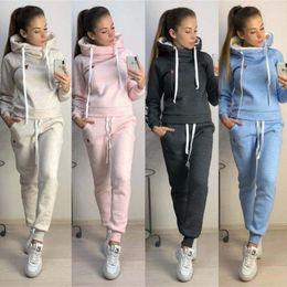 Hoodie do estilo do hóquei on-line-Outono europeu e americano das mulheres e no inverno quente estilo novo conjunto de moletom com capuz de lã moda casual terno esportivo