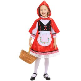 mardi gras party masquerade dress Promo Codes - Umorden Kids Child Girls Little Red Riding Hood Costume Village Farm Girl Halloween Carnival Masquerade Mardi Gras Party Dress