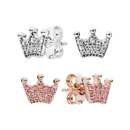 crown stud settings Promo Codes - NEW Fashion CZ Diamond 18K Rose Gold Stud Earrings for Pandora 925 Silver Magic crown Earring Original Gift Box set for Women Girls
