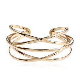 Bracelets vintage bracelets or 14k en Ligne-2018 nouvelle marque Vintage Or / Argent Or Rose Punk Bracelets Bracelets pour Femmes Bijoux multicouche Géométrie Creuser Bracelet Manchette