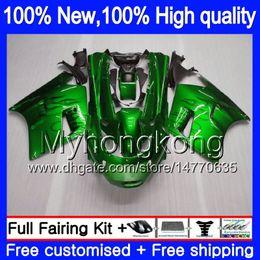 Ninja verkleidungen 93 online-ZZR1100 für Kawasaki ZX11 ZZR 1100 1993 1994 1995 1996 1997 208MY.0 ZZR1100 ZX 11R ZX11R 93 01 ZX11R 93 94 95 96 97 Fairing Grüne Flammen