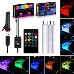 auto licht zubehör Rabatt Auto Atmosphäre Licht Fuß Licht USB / Zigarettenanzünder Fernbedienung Interieur dekorative Ambient LED Lampe Streifen Lichter Zubehör