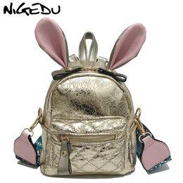 415828ab485b 2019 FashionCute Bunny Ear Mini Backpack for girls children PU leather backpack  women small school bags Wide shoulder straps shoulder bag