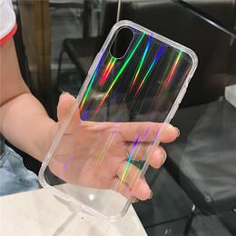 Funda de silicona arco iris online-Arco iris Cute aurora láser Funda para iphone X XR XS XS Max Funda de silicona suave brillante para iphone 6 6s 7 8 7plus cubierta posterior del teléfono Color degradado